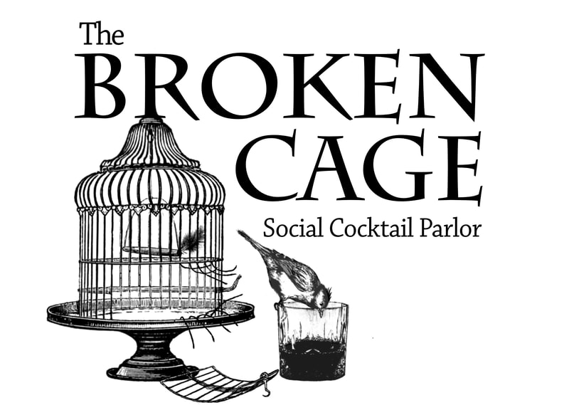 cocktail parlor logo, broken cage, bird drinking cocktail