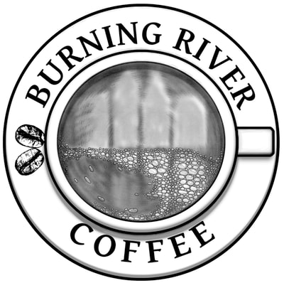 burning river, coffee, cup, beans